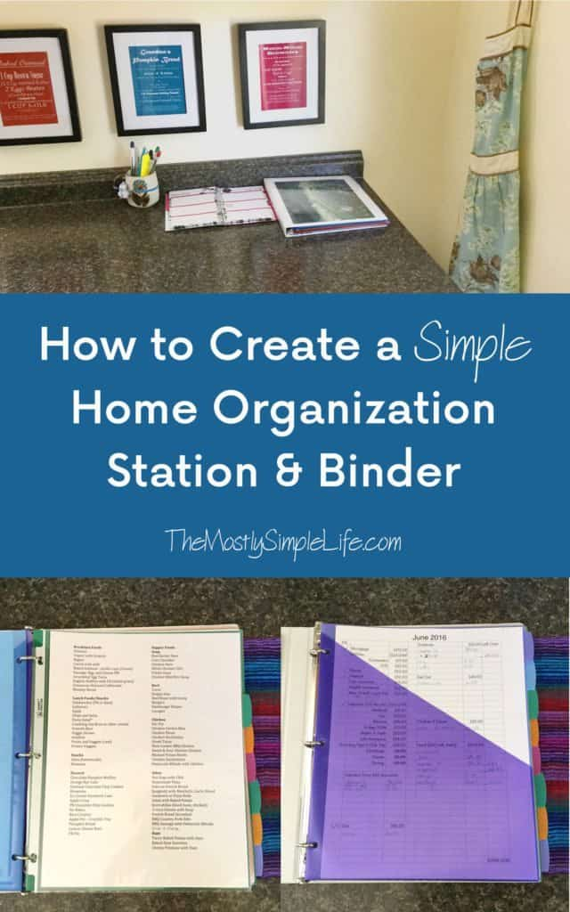Creating a simple home organization station binder the for Creating a minimalist home