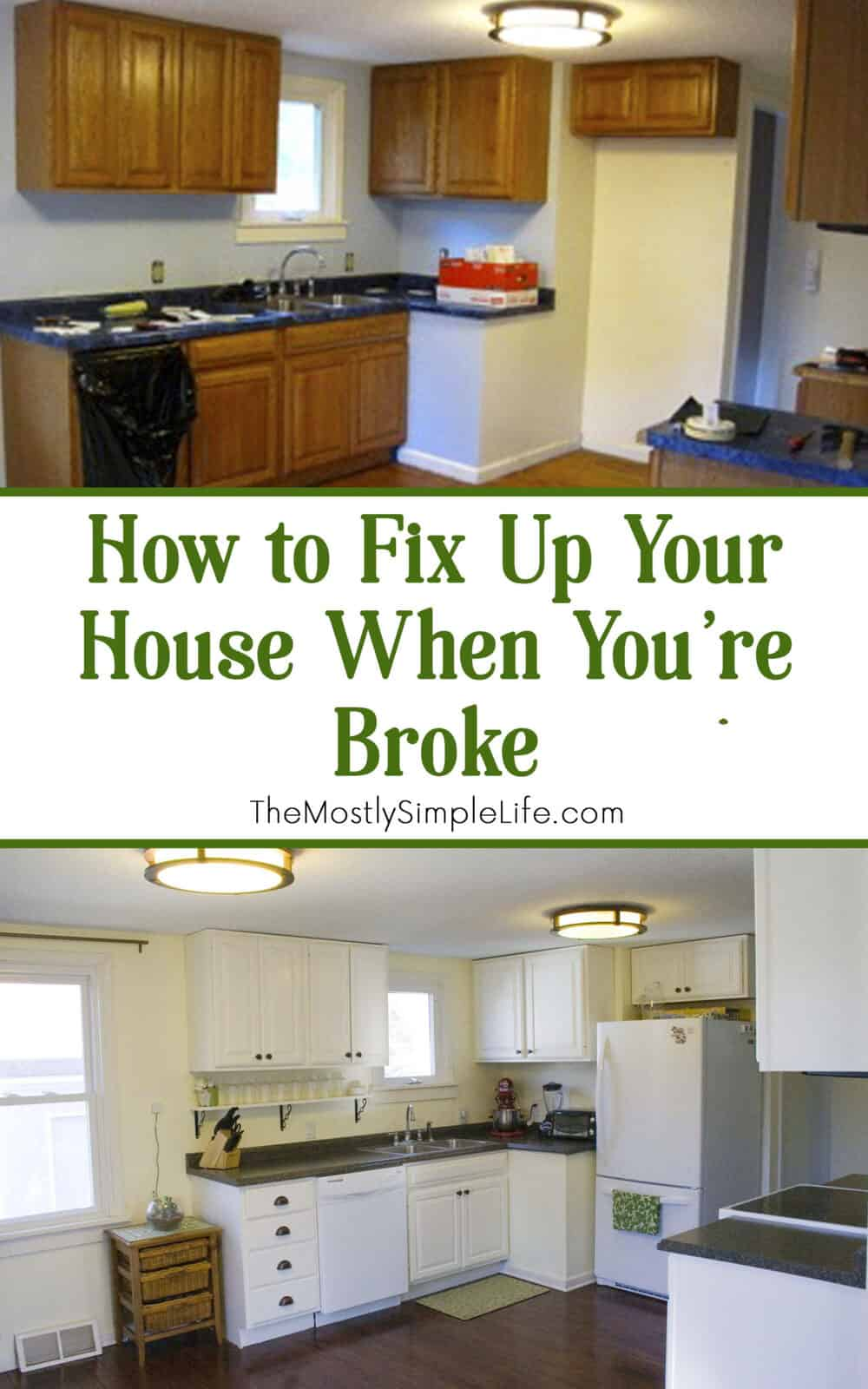 Our first house was a fixer upper. We did major DIY projects to fix it up. We were super broke, so we did it on a tight budget.... Love these ideas! Great kitchen remodel/transformation! #DIY #fixerupper #houseprojects #remodel #home #house #homeimprovement