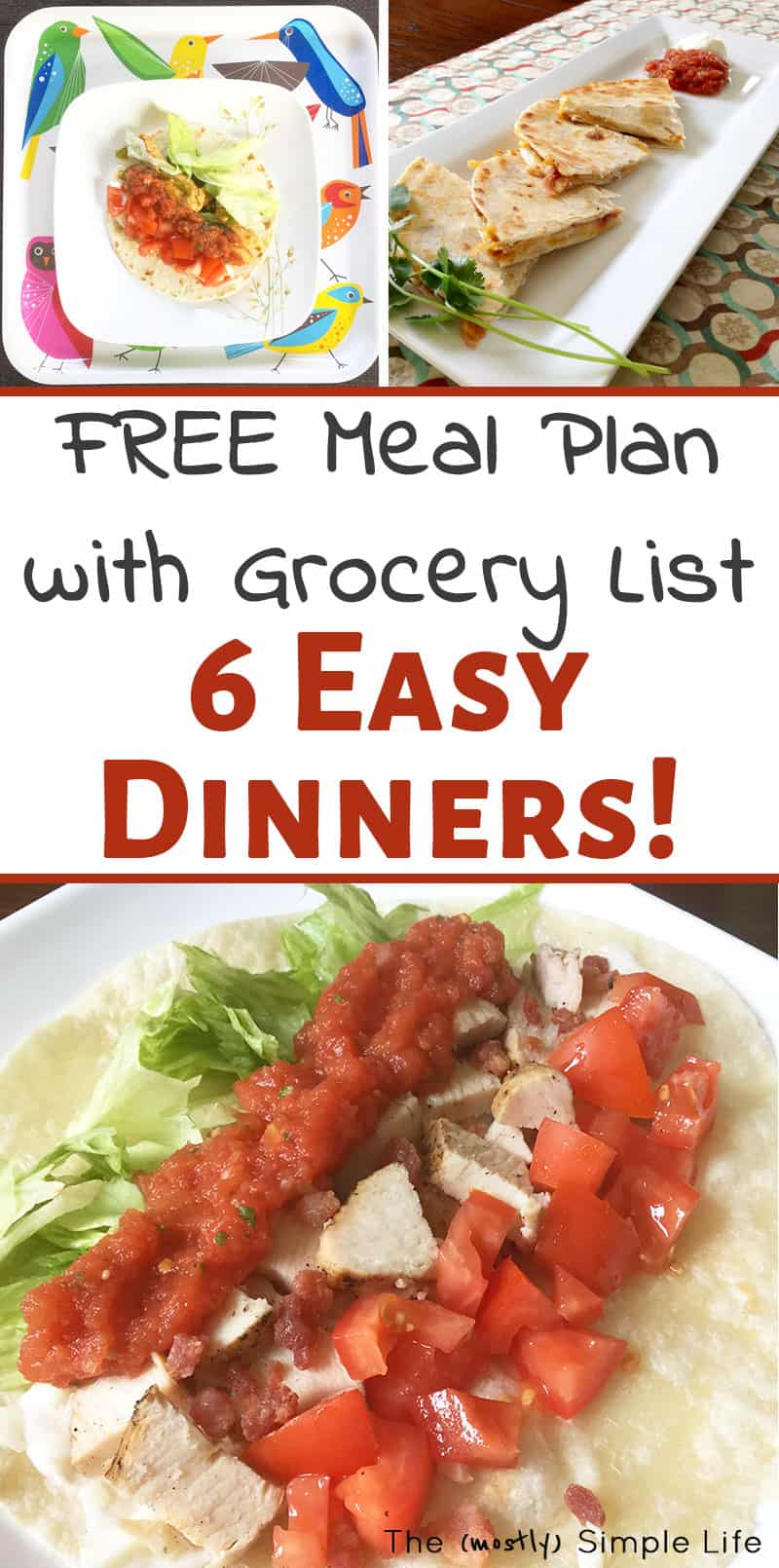 Loving this super easy meal plan! It's perfect for beginners or of you're on a budget. There's a printable and recipes for the whole thing! #mealplan #freemealplan #printable #dinnerideas #dinner #easydinner #recipes #easyrecipes #mealplanning