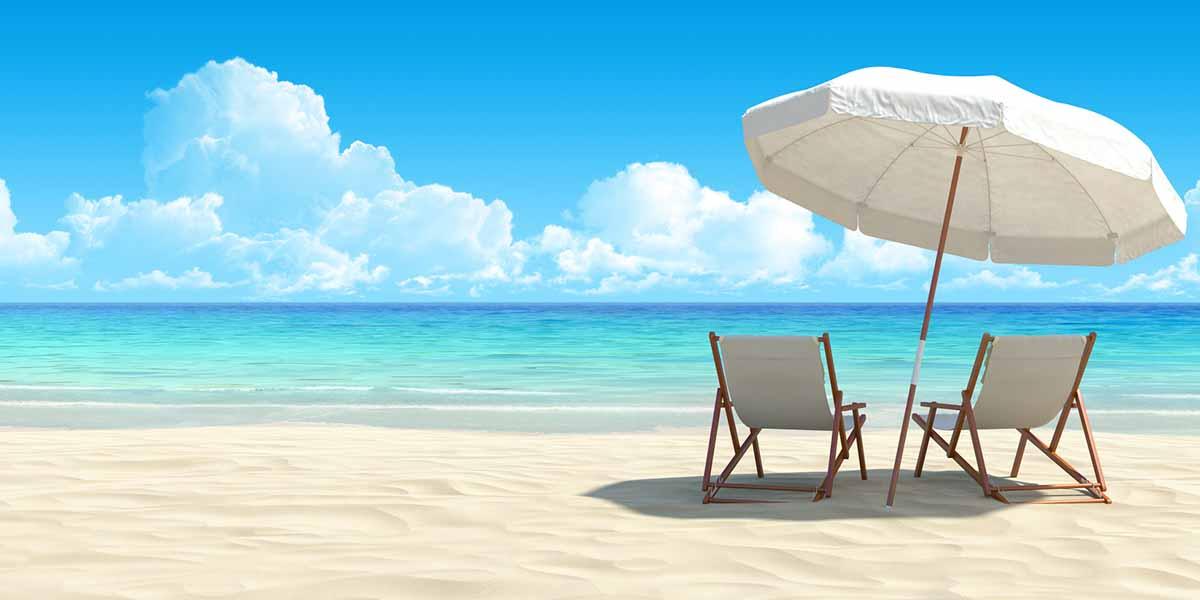 calm beach with umbrella