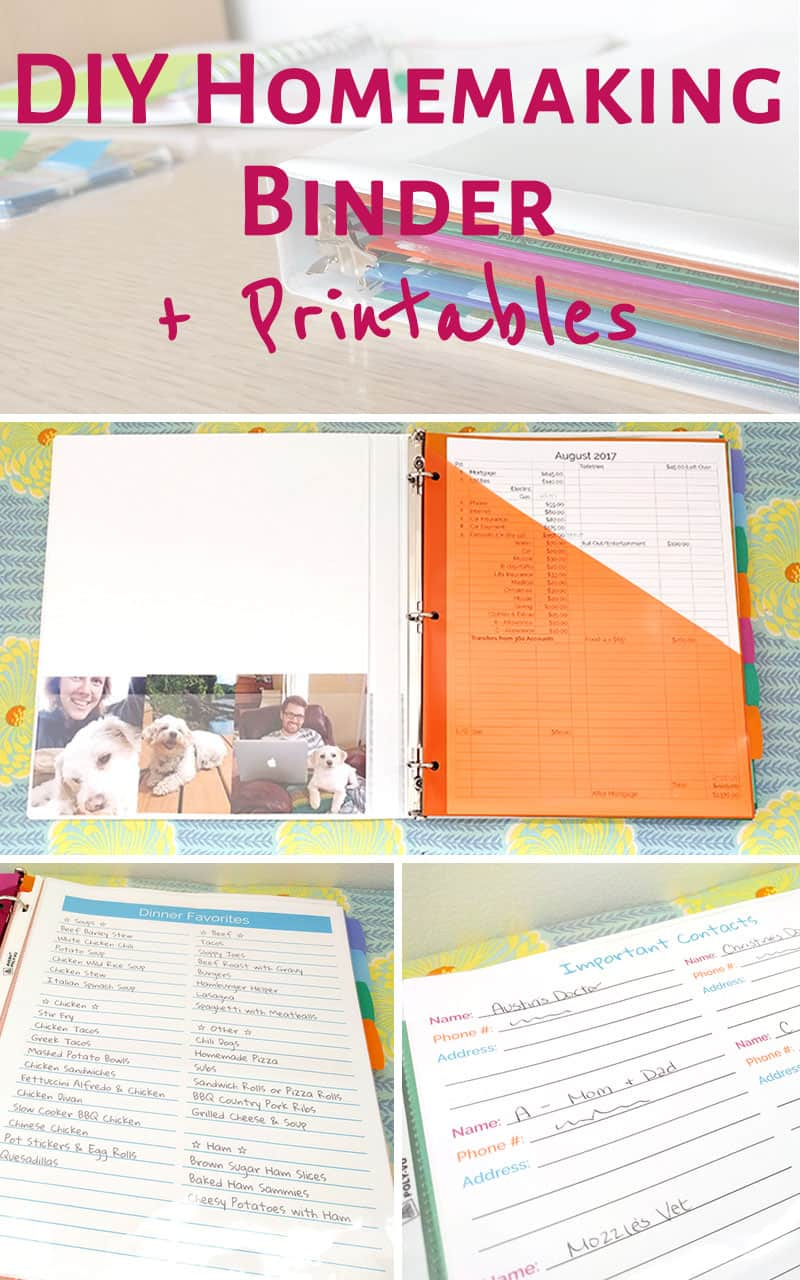 Super simple instructions for how to make your own homemaking / household binder! These tips and ideas for a DIY version are perfect! She included budgeting, meal planning, schedules, and everything you need for home management - O, and free printables!!! Doing this ASAP to get organized!