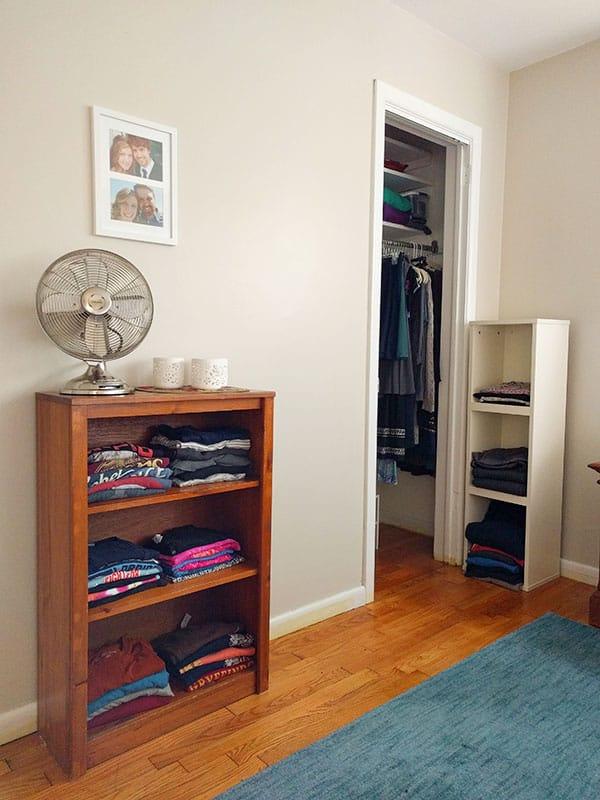 organize clothing in a small closet