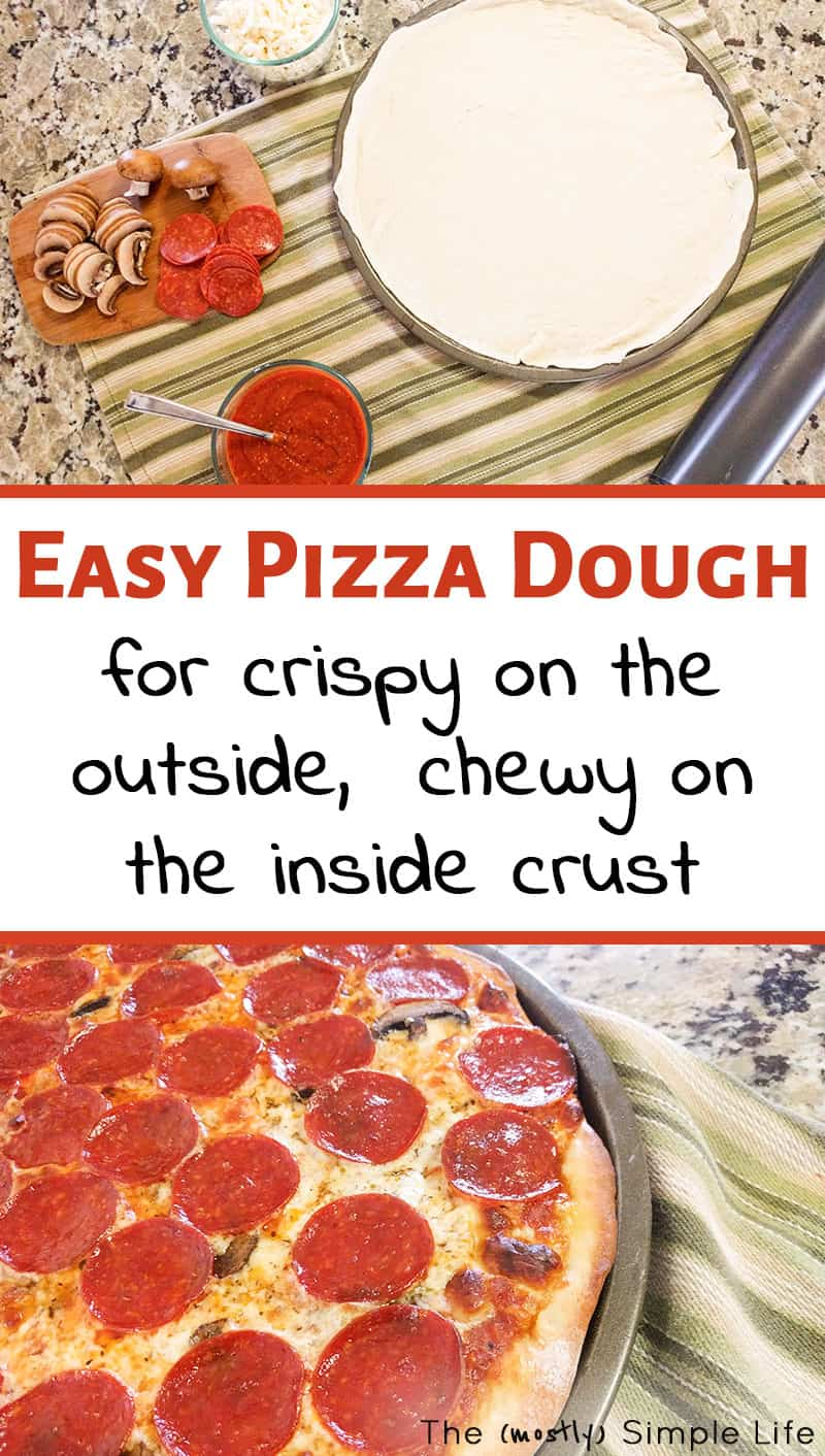 This homemade pizza dough recipe is the best! It\'s easy and makes the perfect crust for our family pizza nights. You can totally make your own pizza dough - it\'s more healthy than takeout and fun for kids. #pizza #pizzadough #homemadepizzadough #pizzarecipe #easypizzadough #pizzanight #easyrecipe #cookingwithkids #dinner #homemadepizza #weekenddinner #easyrecipe