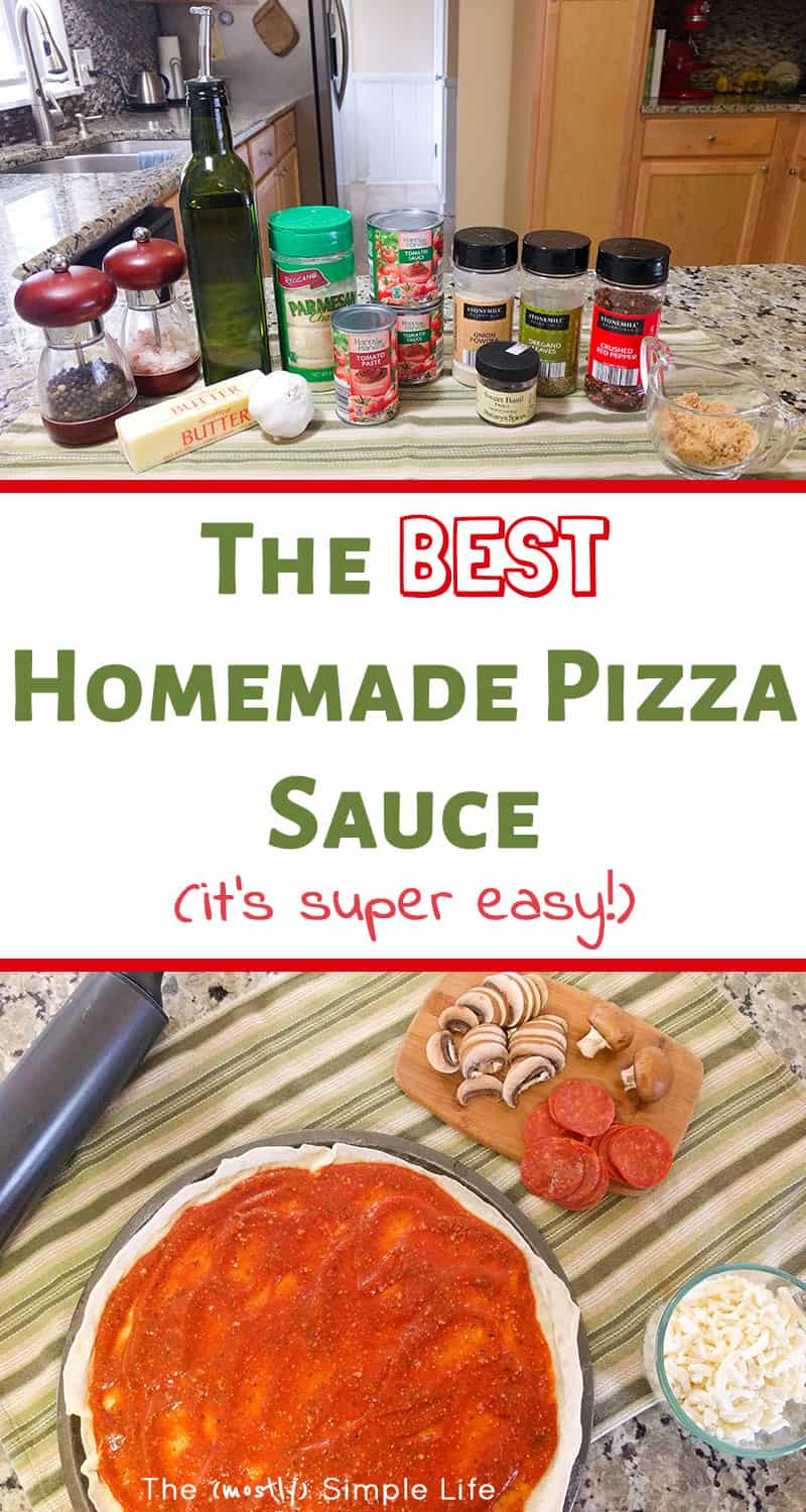 This is the best homemade pizza sauce! It\'s super easy and delicious. Homemade pizza night is fun for kids and the whole family - make your own pizza is always a winner. This sauce is so darn good! #pizzanight #pizza #pizzasauce #homemadepizza #easyrecipe #cookingwithkids #fromscratch