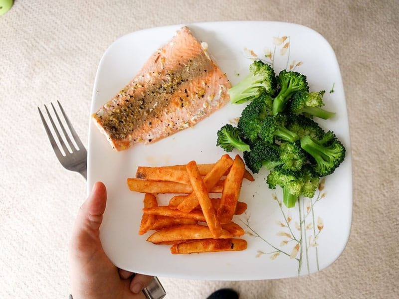 Salmon dish with vegetables