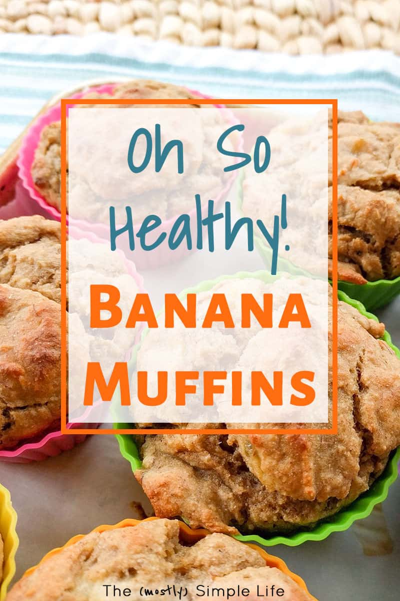 We make these healthy banana muffins every week! They are breakfast on the go, snack, dessert... Everything! They are easy, moist, and yummy! Made with applesauce, whole wheat flour, and no sugar. Great for kids or for weightloss - 100 calorie snacks! #healthy #healthysnack #breakfast #breakfastonthego #healthybreakfast #bananamuffins #100caloriesnack #easybreakfast #snacksforkids #grabandgo #healthymuffins