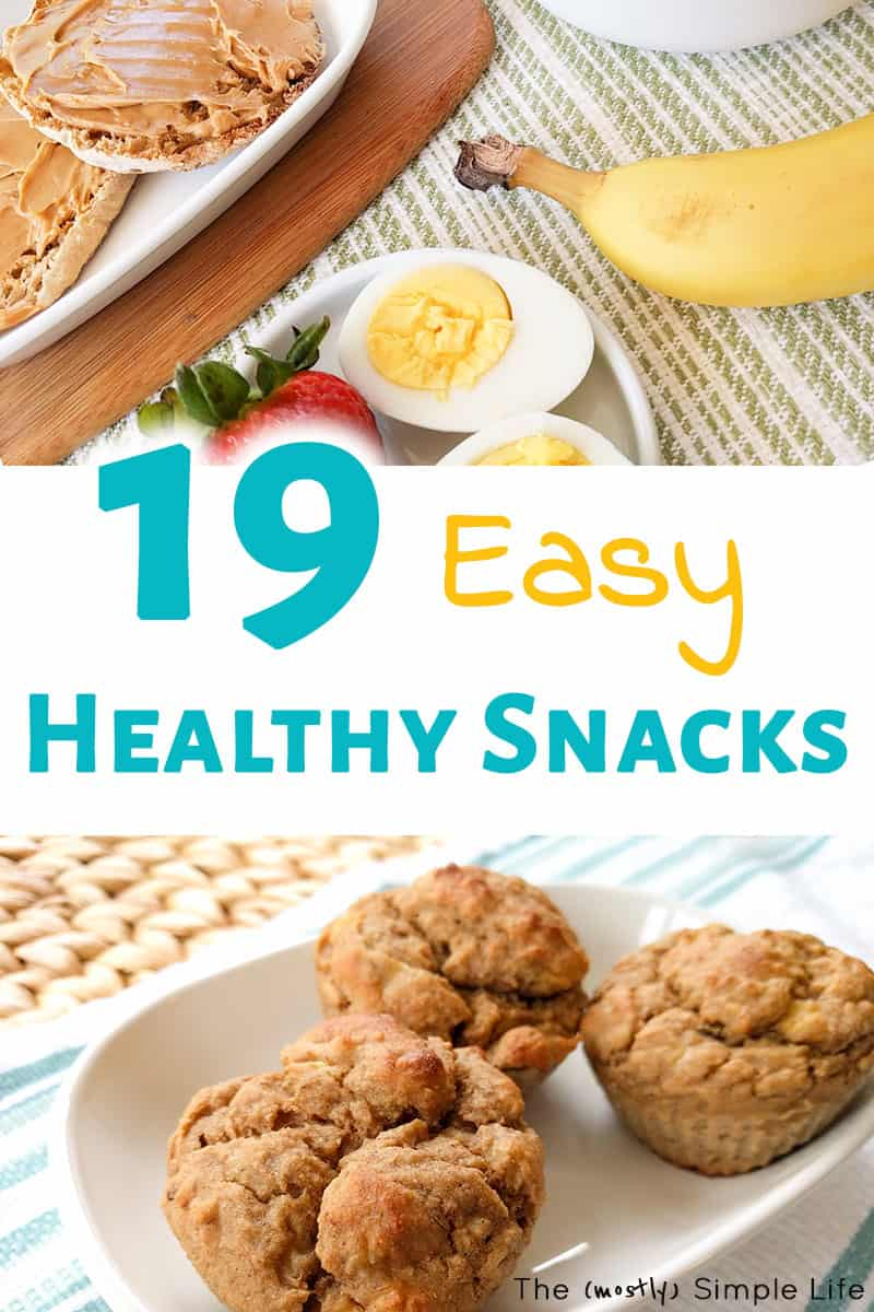 Love ideas for healthy snacks! This list of easy snacks are perfect for on the go, for kids, or even for weightloss! My fav muffins, fruit, sweet stuff, etc. Free printable list, BTW. #healthysnacks #snacks #snackideas #healthyfood #mealplan #groceryshopping #mealplanning #easysnacks #onthego #weightloss #loseweight #healthykids #kidfood