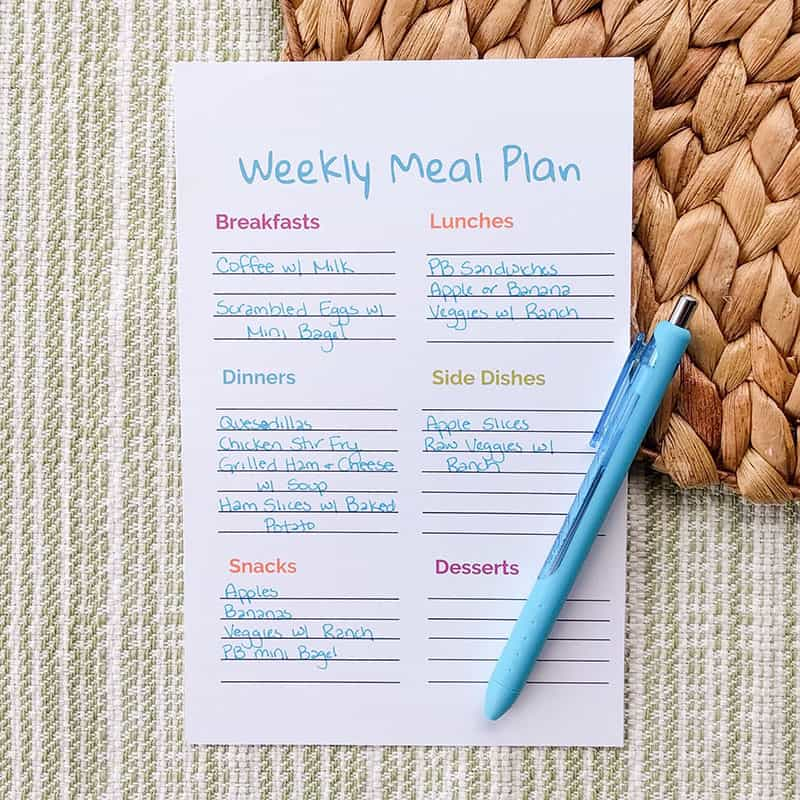 budget grocery list meal plan