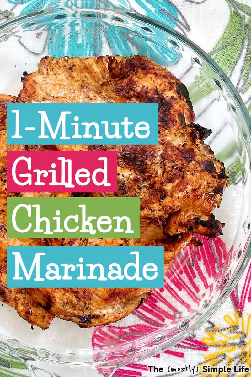 This is my go-to chicken marinade for the grill! It\'s so quick and easy to make up and is just the best! Healthy too! It\'s uses lemon juice, balsamic vinegar, soy sauce, Worcestershire sauce, garlic, and a few other ingredients. Super simple homemade marinade! It\'s good with baked or Instant Pot chicken too, btw. #chicken #marinade #easyrecipe #grilledchicken #healthy #healthymarinade