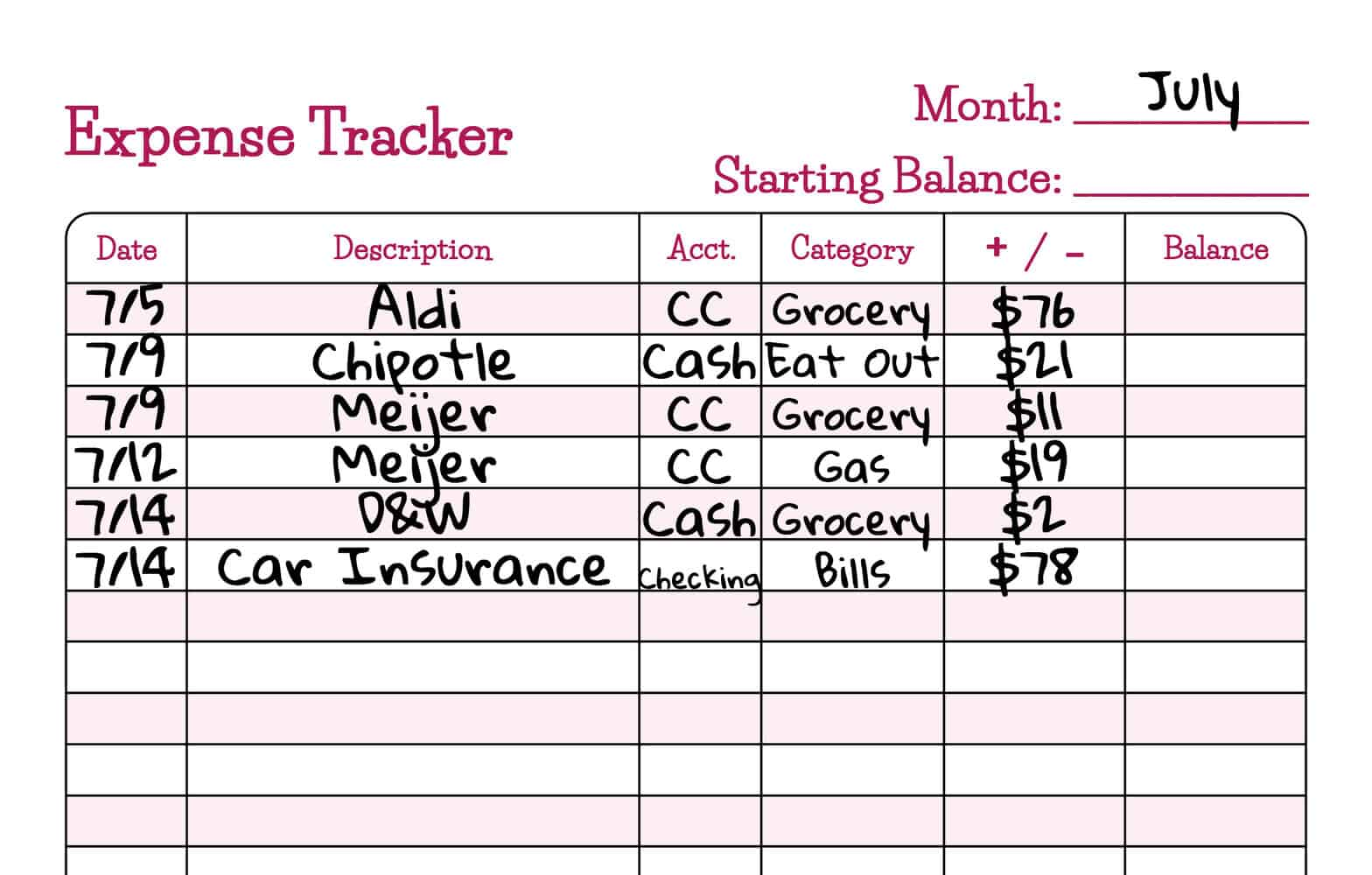 Spending Tracker Printable