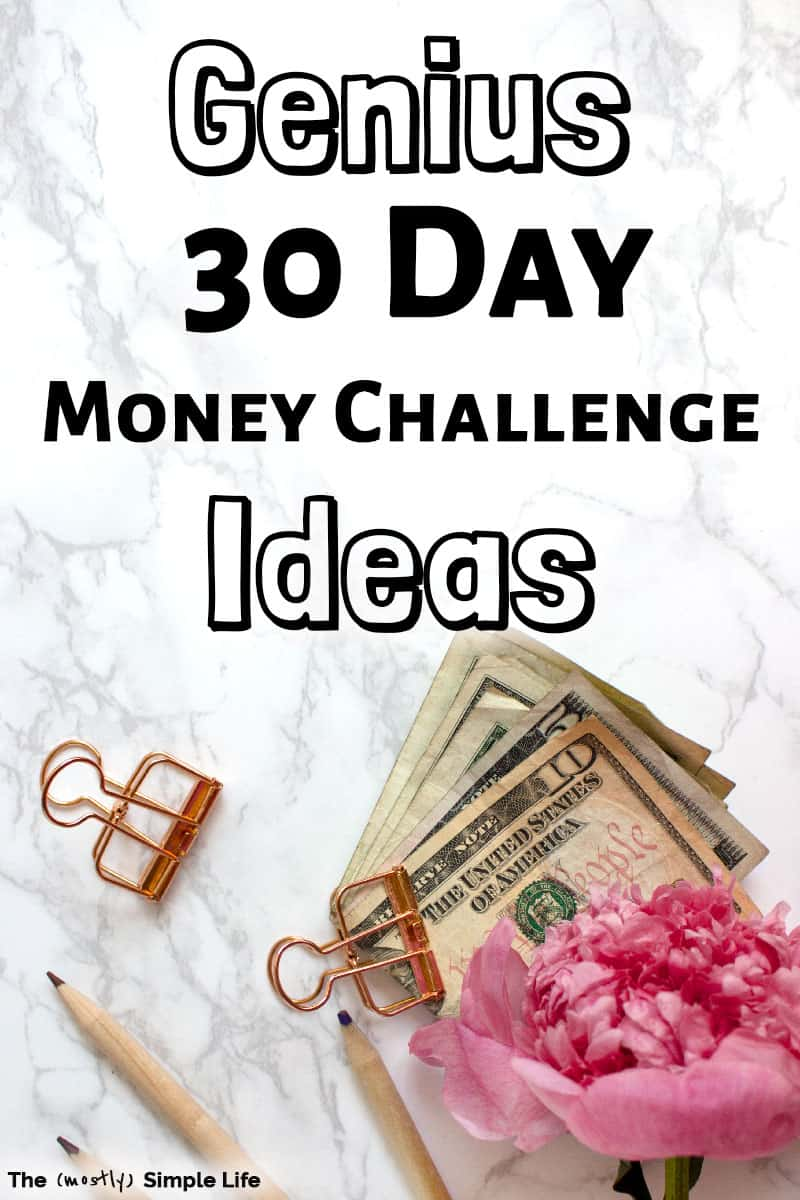 Save a ton of money with these 30 day / monthly money challenge ideas! These ideas make saving money easy and turn it into a challenge that you can take action on daily -- there are almost enough challenges for the whole year! Some are more extreme than others, but all will get you exciting results! #challenge #budget #frugal #30daychallenge