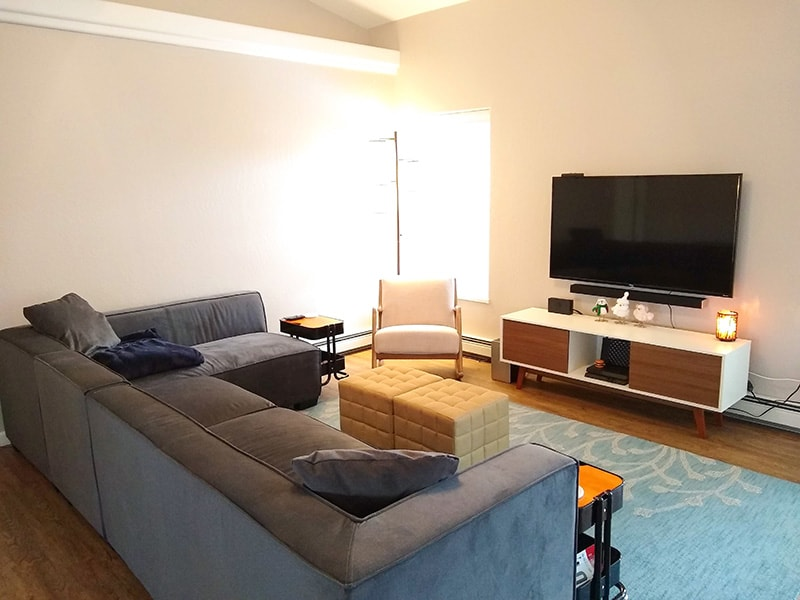 Living room with large L-shaped couch