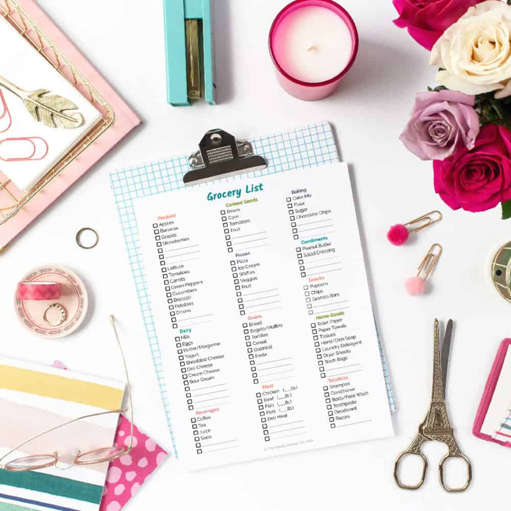 Flatlay of Grocery List Printable