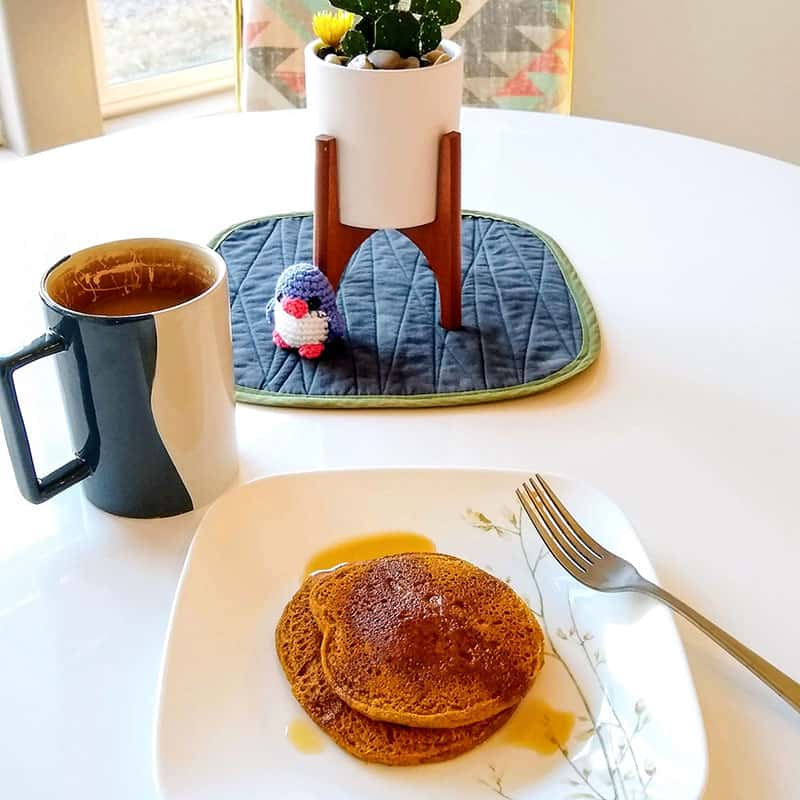 pumpkin pancakes with coffee