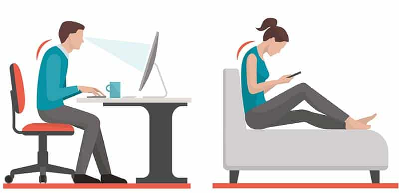 Inactive people sitting at a desk and on the couch