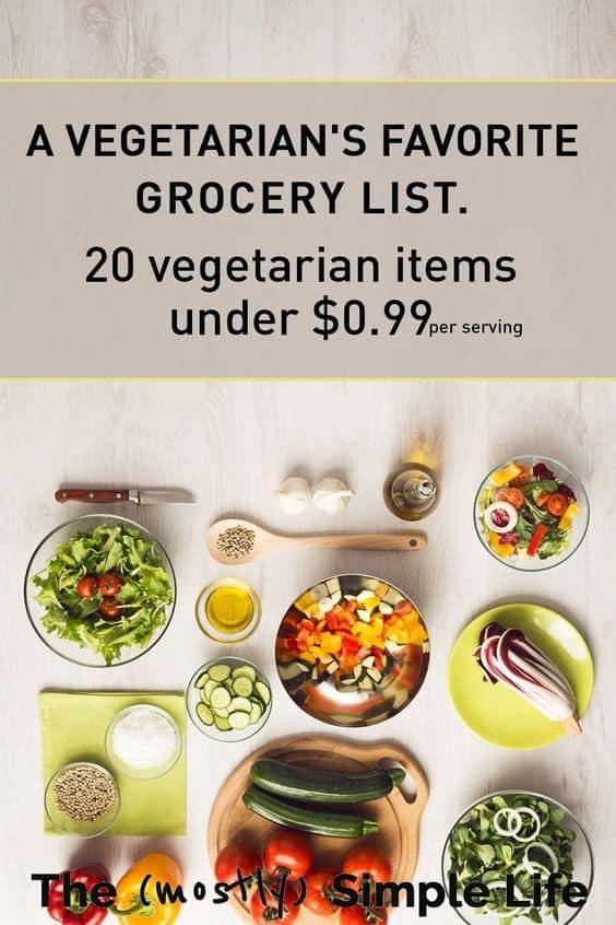cheap vegatarian grocery list