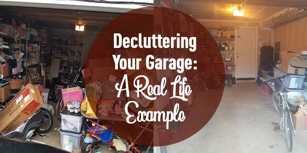 image showing decluttered garage before and after