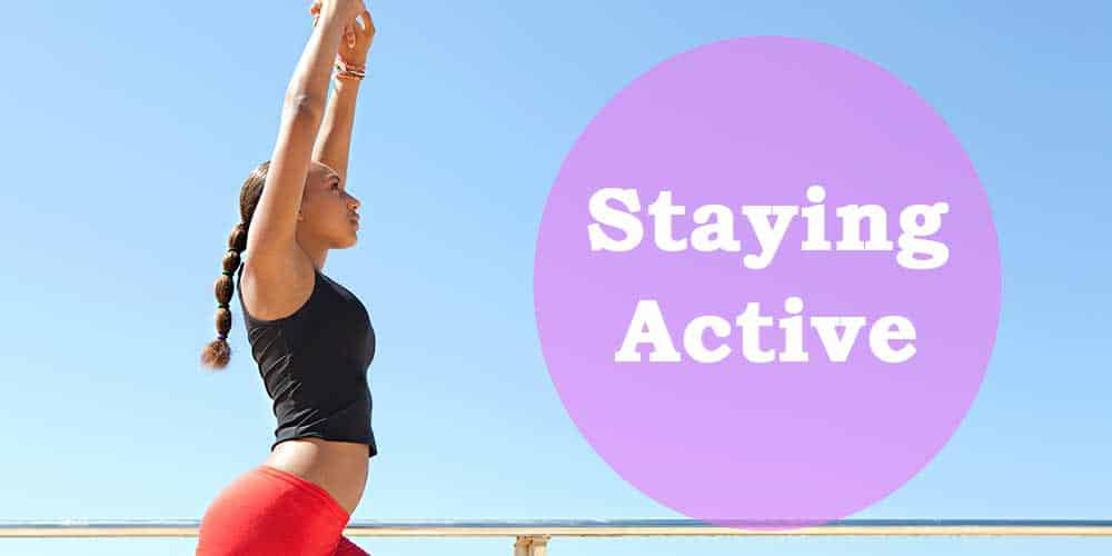 woman stretching to stay active