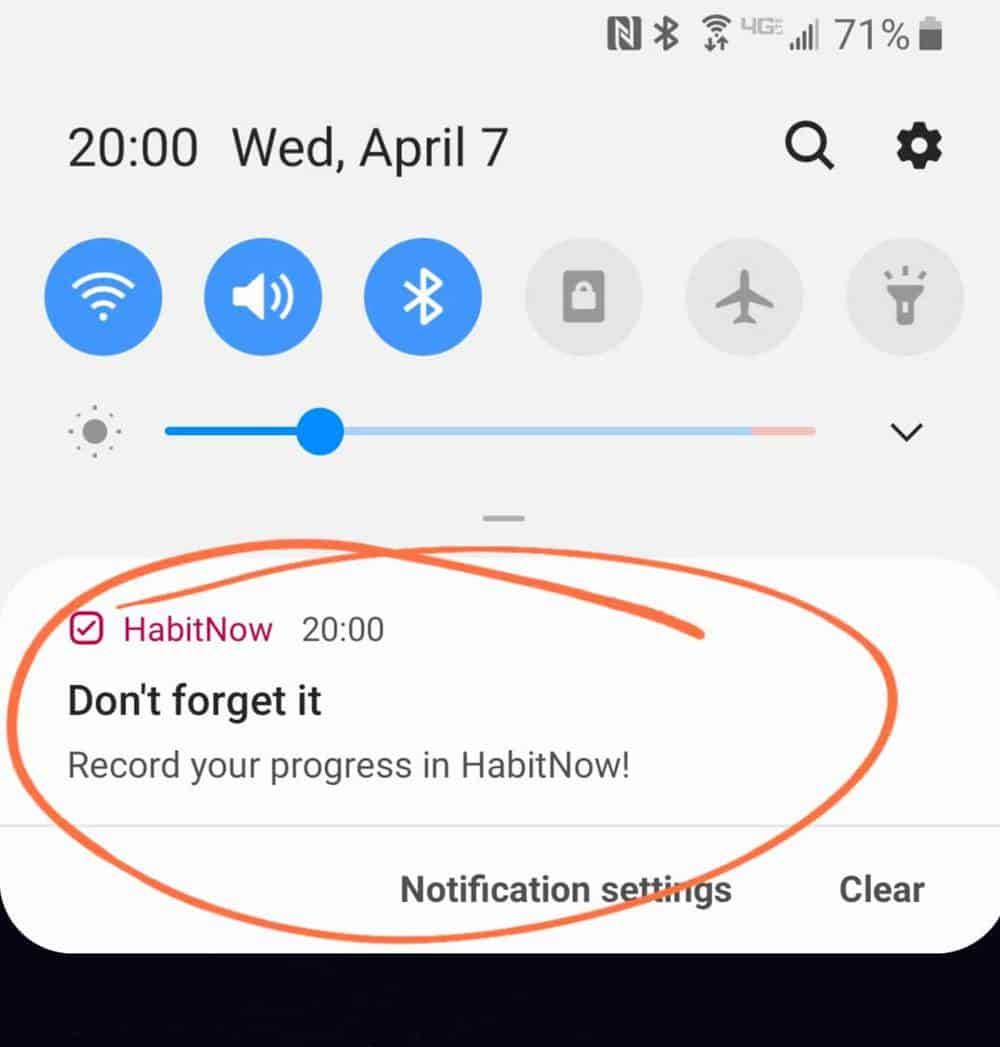 screenshot of habitnow notification