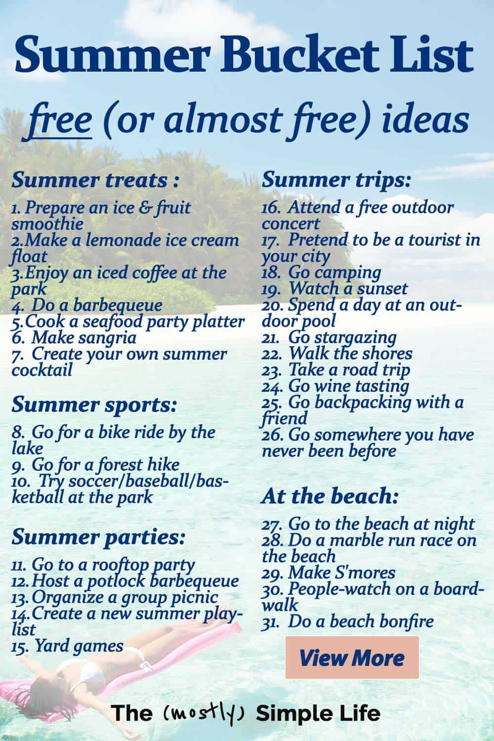 Summer Bucket List of Free (Or Almost Free) Ideas