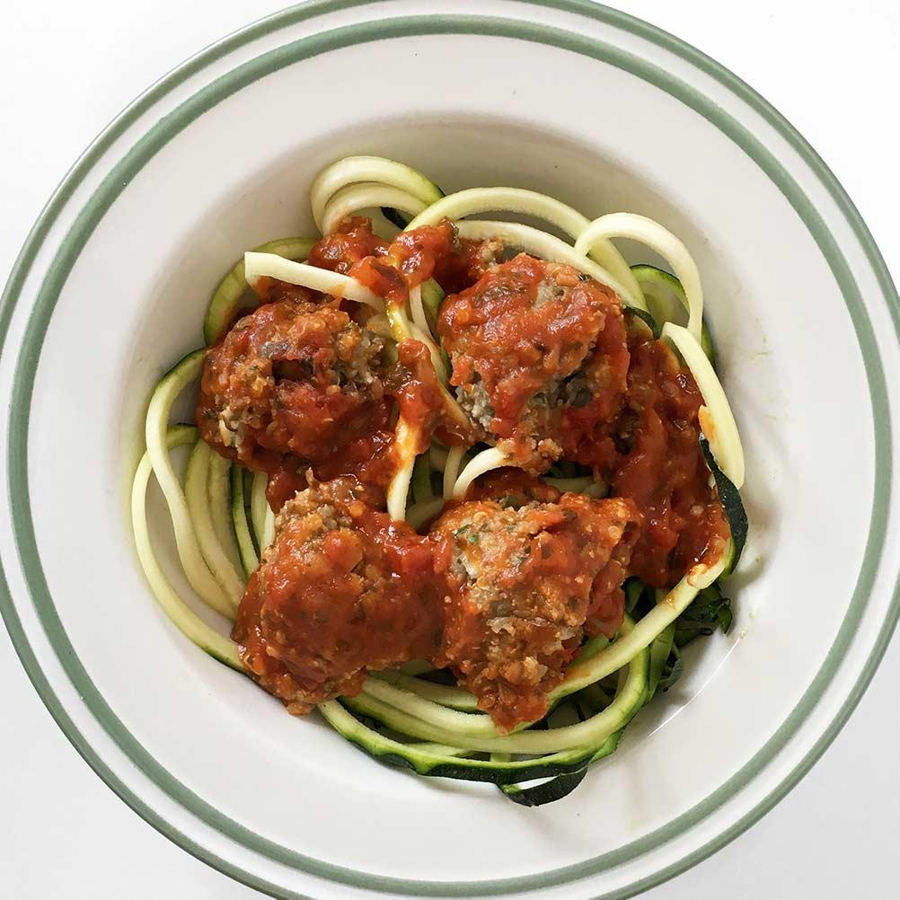 Lentil meat balls and pasta