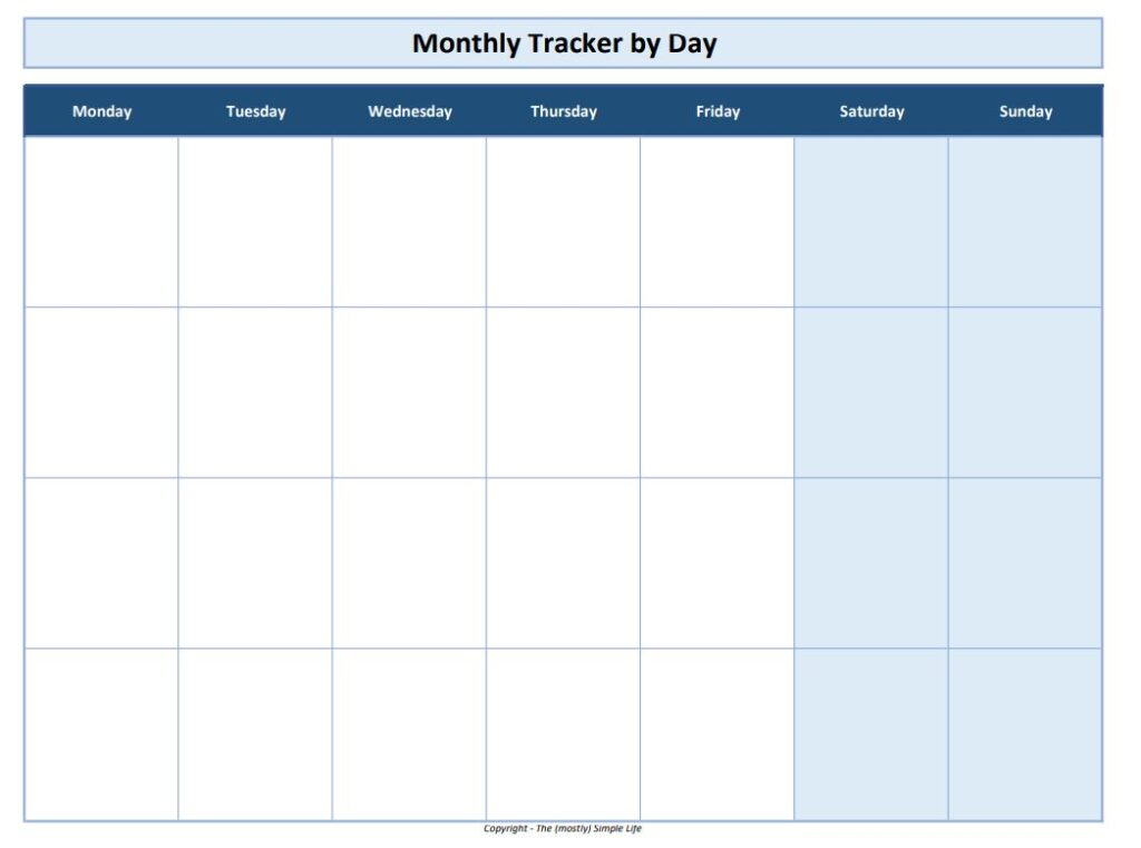 habit tracker monthly by day