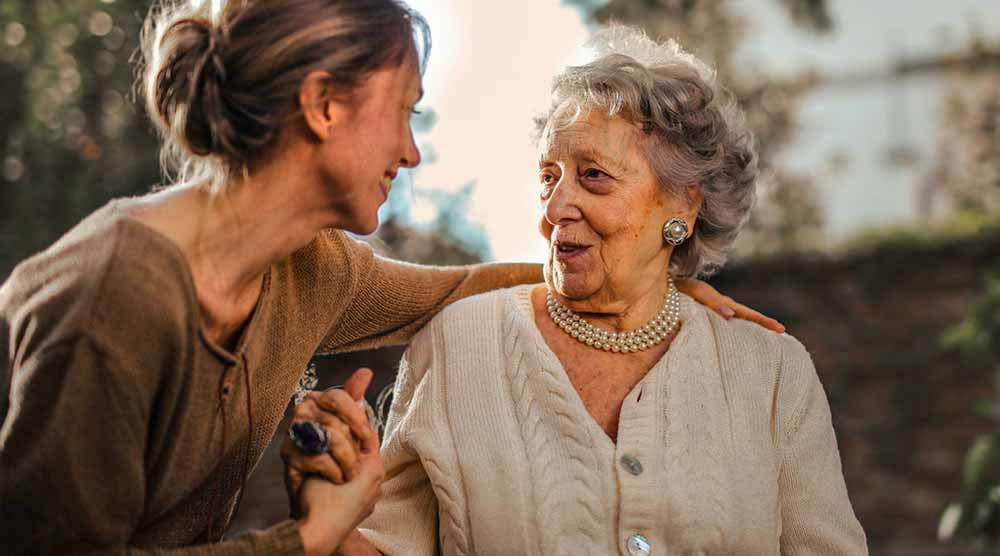 woman with her elderly mom
