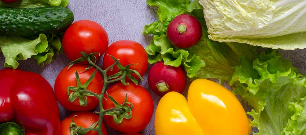 fuits and veggies display