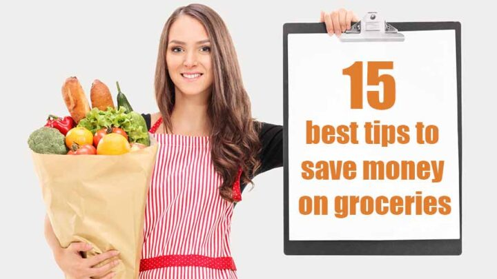 woman holding sign for saving on groceries