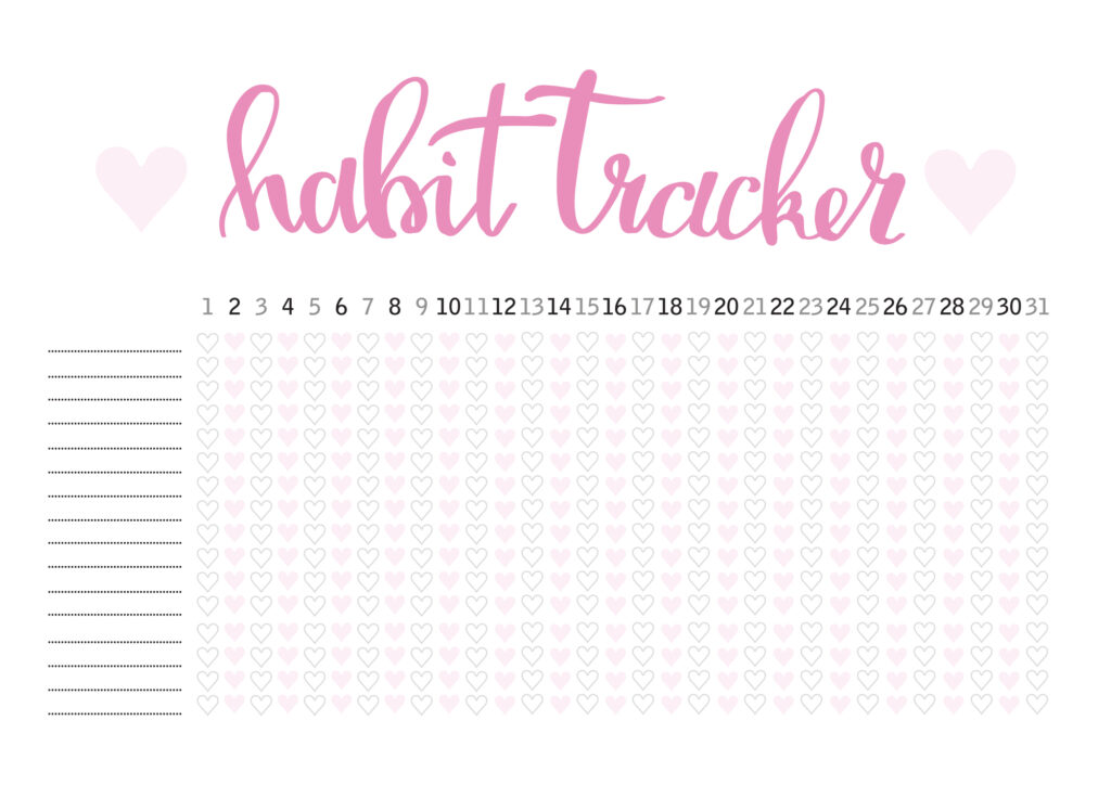 monthly habit tracker with hearts design
