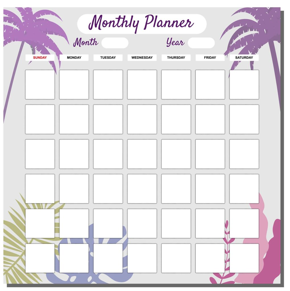 monthly planner with a checkbox for each day