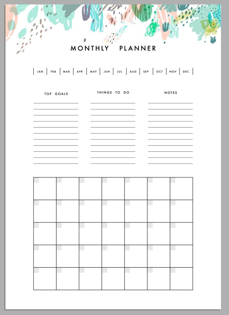 Monthly planner with top goals and things to do, in addition to habits