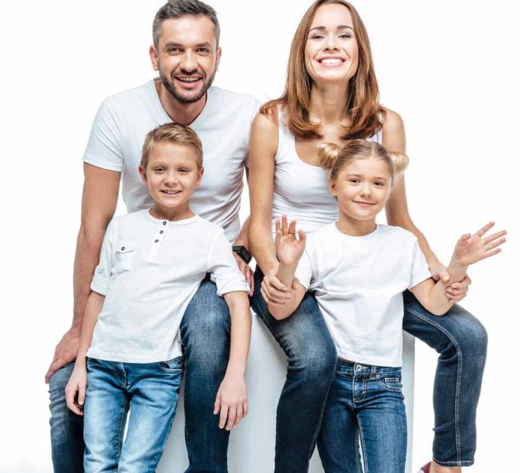 family in white t-shirts and blue jeans