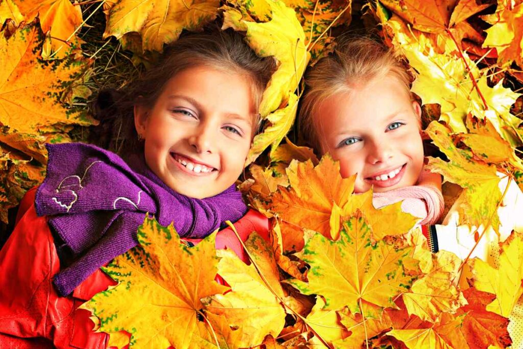 fall style picture with two children