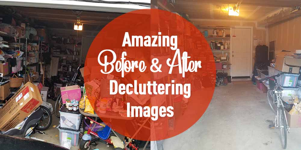 images before and after decluttering a garage